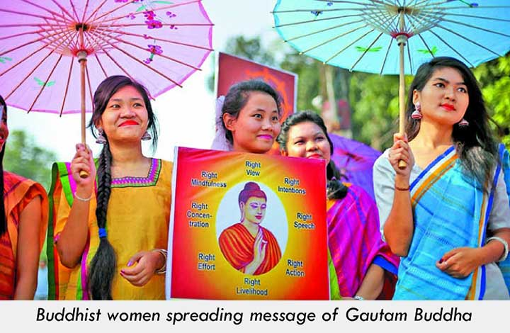 Buddhist women preaching messages of Gautam Buddha