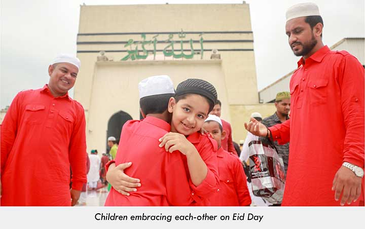 2 Muslim children embracing each-other on Eid Day